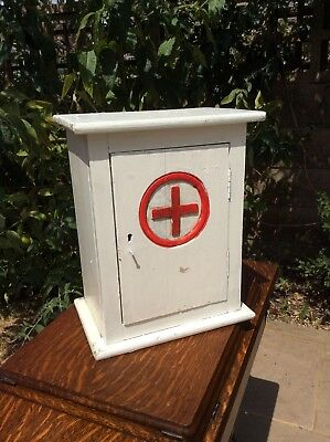 Vintage Wooden First Aid Cabinet Medical Red Cross Shelf Cupboard