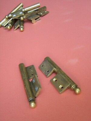 "Pair of heavy antique cast brass 4"" flag hinges with ball finials, left-handed"