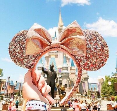 BNWT Authentic Disney Parks Rose Gold Minnie Mouse Ears Headband