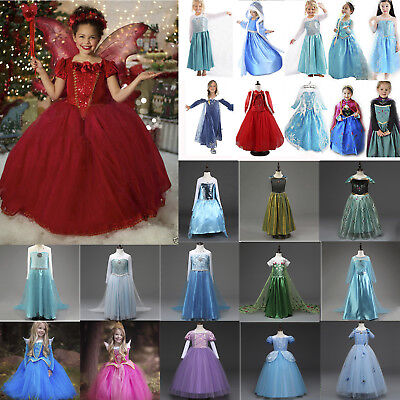 Girls Frozen Anna Elsa Cinderella Princess Party Fancy Dress Cosplay Costume Lot