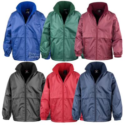 Result Microfleece Lined Jacket Waterproof Fleece Collar Hood Rain Coat Children
