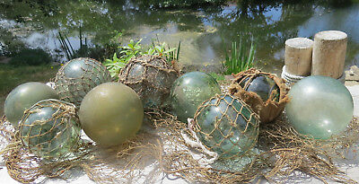 Japanese Floats Glass Floats 9-Green Mixed Sizes Sea Debris Ratty Nets WP#225