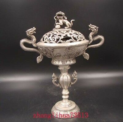 Collectible Handmade Carving Statue Copper Silver Lion dragon Incense Burner