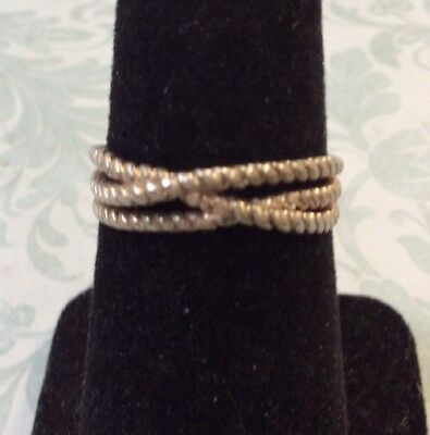Beautiful Rare Estate Sterling Silver 925 Fancy Design Ring Size 7.5  SP13
