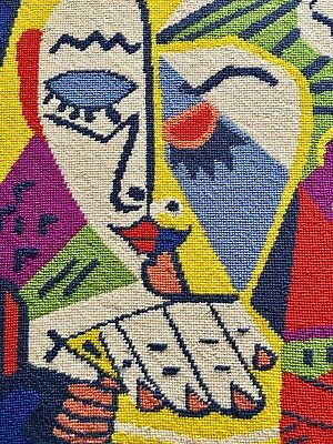 """The Eye"" Pablo Picasso Needlepoint/ Tapestry / Weaving /1970's with Gallery Tag"