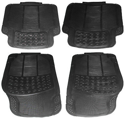 4 Piece Hvy Duty Front Rear Waterproof Black Rubber Ford Fiat Car Floor Mats Set