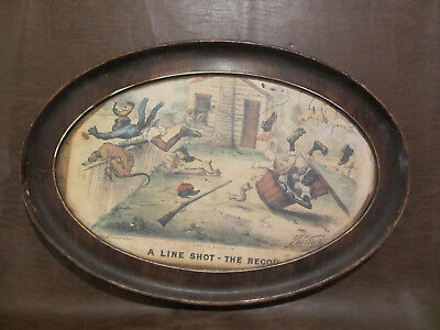 """1881 CURRIER & IVES titled """"A LINE SHOT-THE RECOIL"""" BLACK AMERICANA FRAMED PRINT"""