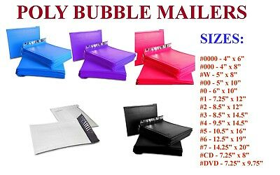 25-500 Poly Bubble Mailers #000 #00 #0 #CD #1 #2 #3 #4 #5 #6 #7 Padded Envelope