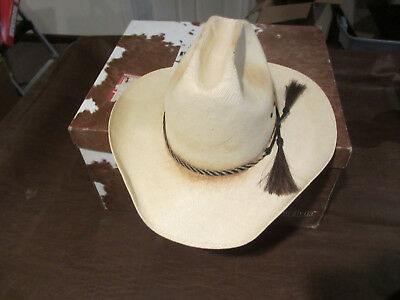 VINTAGE 1980s RESISTOL STRAW COWBOY HAT with HORSE HAIR BRAID BAND 7 1/2 W/ BOX