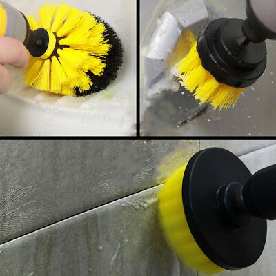 3x Tile Grout Power Scrubber Electric Drills Brush Rotary Tub Cleaner Yellow