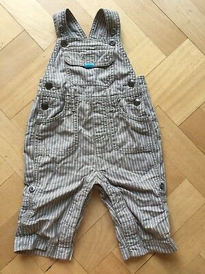 Boden Baby Boys Dungarees Grey/Stone Stripe 6-12 months