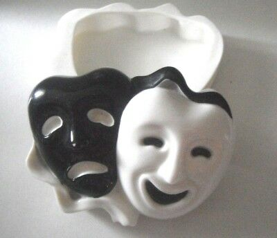 Comedy & Tragedy Theater Masks Porcelain Jewelry Box San Francisco Music Box Co