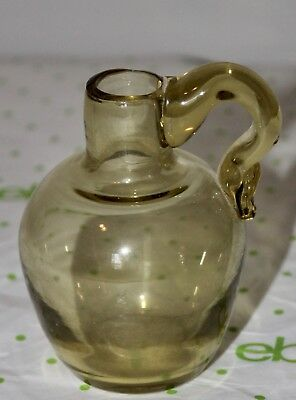 """Antique Small Green Art Glass Jug With Controlled Bubble Marked C On Bottom 3.5"""""""