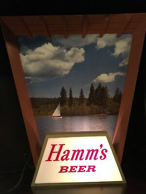 SCARCE VINTAGE BREWERIANA!!:  Lighted Hamms Beer Sign Sailboat on a Lake WORKS