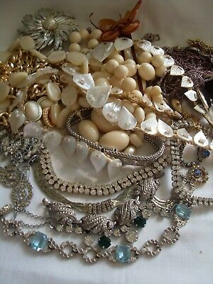 Collection Of Vintage Jewellery Art Deco Onwards,for Spares Repairs,mop,diamante
