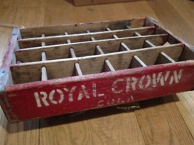 Royal Crown Cola Bright Red Wooden Crate 24 Bottles Rare Barn Find