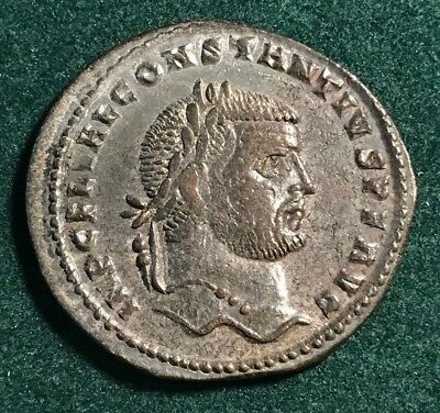 Roman Empire Bronze Silvered Follis Of Constantius I 295-299 Ad Cyzicus Mint