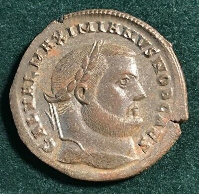 Roman Empire Bronze Silvered Follis Of Galerius Cyzicus Mint 309-310 Ad Genius