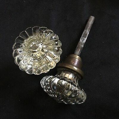 Antique Pair Of Rare Fancy Round Pressed Daisy Glass Door Knobs #3