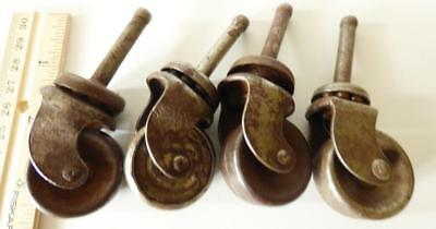 """Lot of 4 Vintage Metal Casters 1 1/4"""" Wheels 3 1/2"""" overall"""