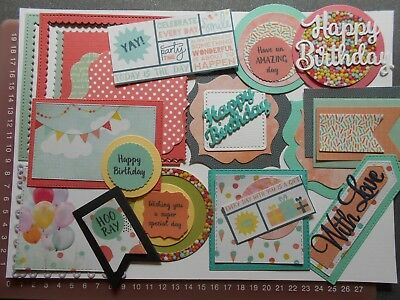 Die cuts - Mats Frames Tags Words Birthday x 35+ Brights Embossed card toppers
