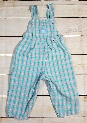 Vintage Oshkosh B'gosh Plaid Blue Green Overalls 18 M Made In The USA