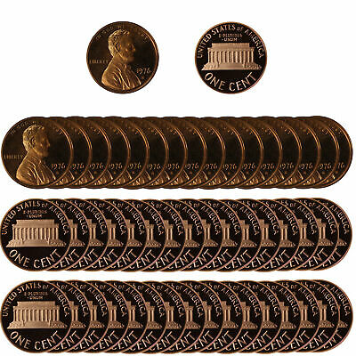 1976 -S Lincoln Cent 1c Gem Proof Roll 50 US coins