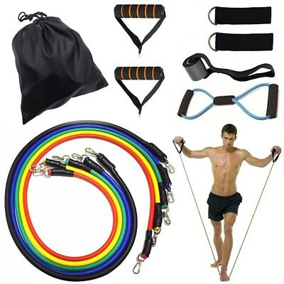 Resistance Bands Set, Exercise Fitness Bands with Door Anchor, 5 Exercise