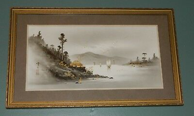"""Antique Framed Japanese Painting/Watercolor with Gold Accents Signed 19"""" x 12"""""""