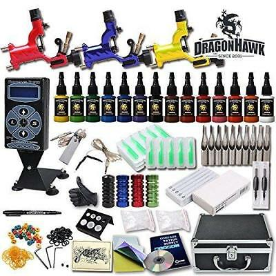 Professional Complete Tattoo Kit 3 Top Rotary Machine Gun 14 Color Ink 50 Needle