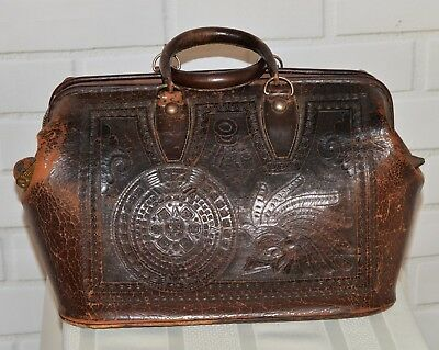 Vintage Tooled Leather Doctors Bag – Southwestern Design- 1950'S