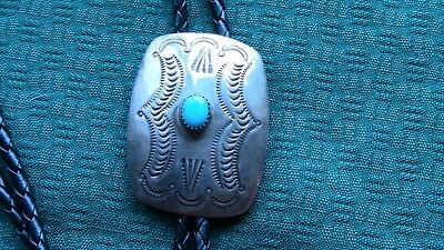 Navajo Sterling Silver Stamped Old Bolo Tie