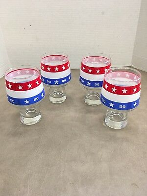 Vintage DQ Ice Cream Red White Blue Glasses 3 sets avail 4th of July