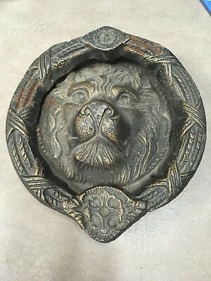 Antique Lion Head Door Knocker Original Gold Gilt Rust Great Patina