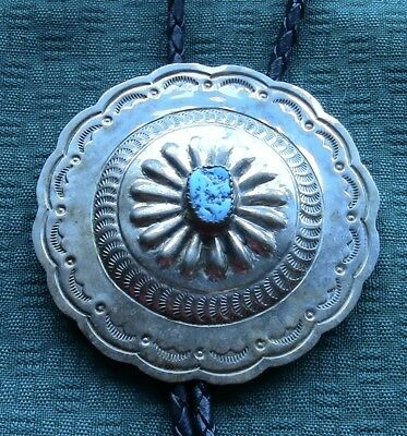 Very Large Concho Navajo Sterling Silver Stamped Bolo Tie Turquoise