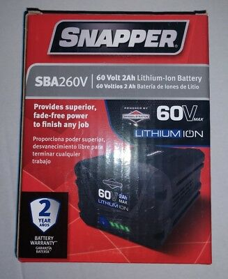 Snapper SBA260V 60 Volt Lithium Ion Battery  New In Box - Free Shipping