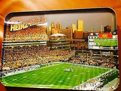 New-Heinz Field Pictured Steeler Game Metal Tray With Gold Back