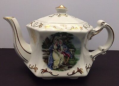 Ellgreave Wood & Sons Hexagon Ironstone Teapot Courting Couple Gold Rim England