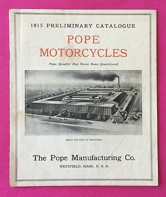 Pope Motorcycles 1915 Catalog + Model S-14 Specifications  & Parts- Rare