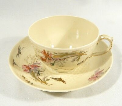 Rare Vermicelle H&Co Limoges TEA CUP & SAUCER DragonFly Butterfly  BIRDS c.1880