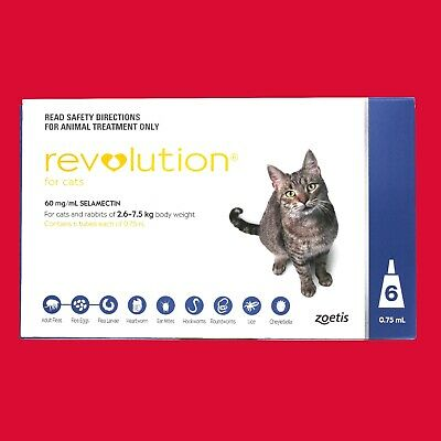 "Revolution for Cats 2.6-7.5kg 6 Month Pack Blue ""GENUINE"" ""LONG EXPIRY DATE"" pk"