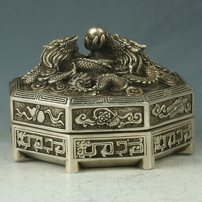 China Silver Copper Octagon Incense Burner Carved Dragon W Mark QianLongRT0012+b