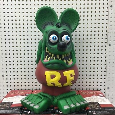 "13"" Green Brown Rat Fink Action Figure Roth Ed Big Daddy  Statue Model Toy"