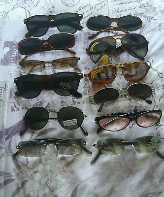 Wholesale Job Lot ~ 10 Pairs Of Vintage Sunglasses .