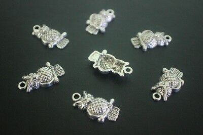 16 pce Metal Antique Silver Owl Charms 22mm x 12mm Jewellery Making Craft