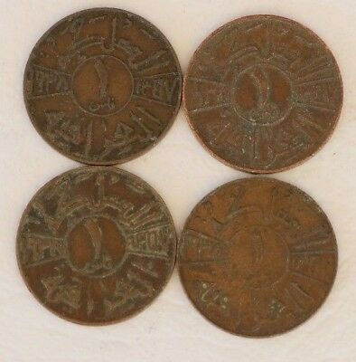 1 Fils Iraq 1938 / 1938-I Coin Lot Of 4 World Foreign Combined Shipping D20