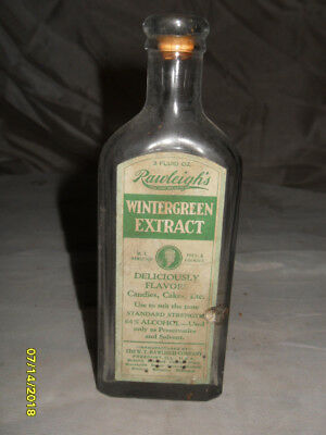 Antique Rawleigh's 3 oz Wintergreen Extract Clear Glass Bottle w/Raised Letteri