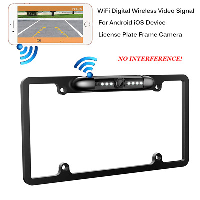 Smartphone WiFi Wireless HD Car Rear View License Plate Frame Camera Android IOS