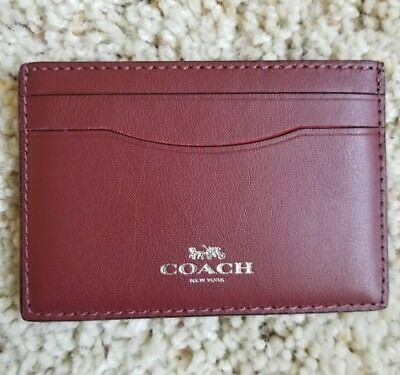 NWT Coach Lips Leather Credit Card/ card Case Holder Red 27039