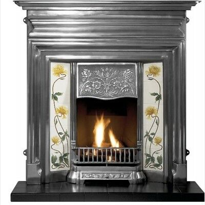 Decorative cast iron tiles fireplace - Victorian /Edwardian style Incl Hearth